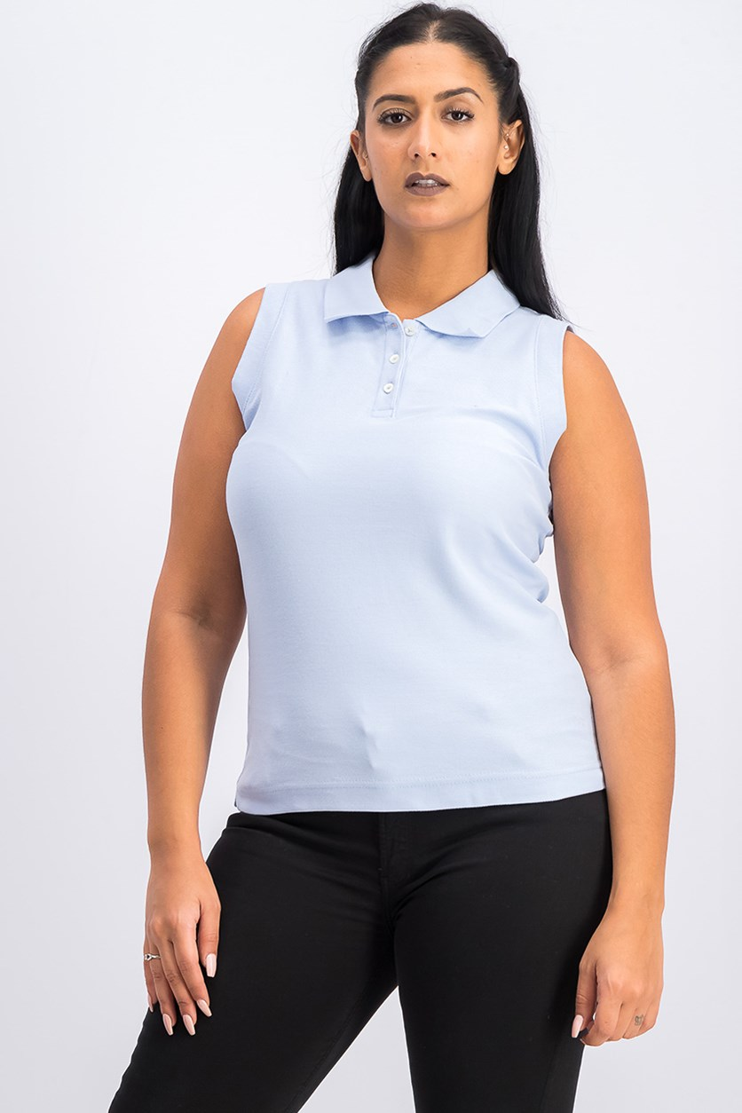 Women's Polo Tops, Light Blue