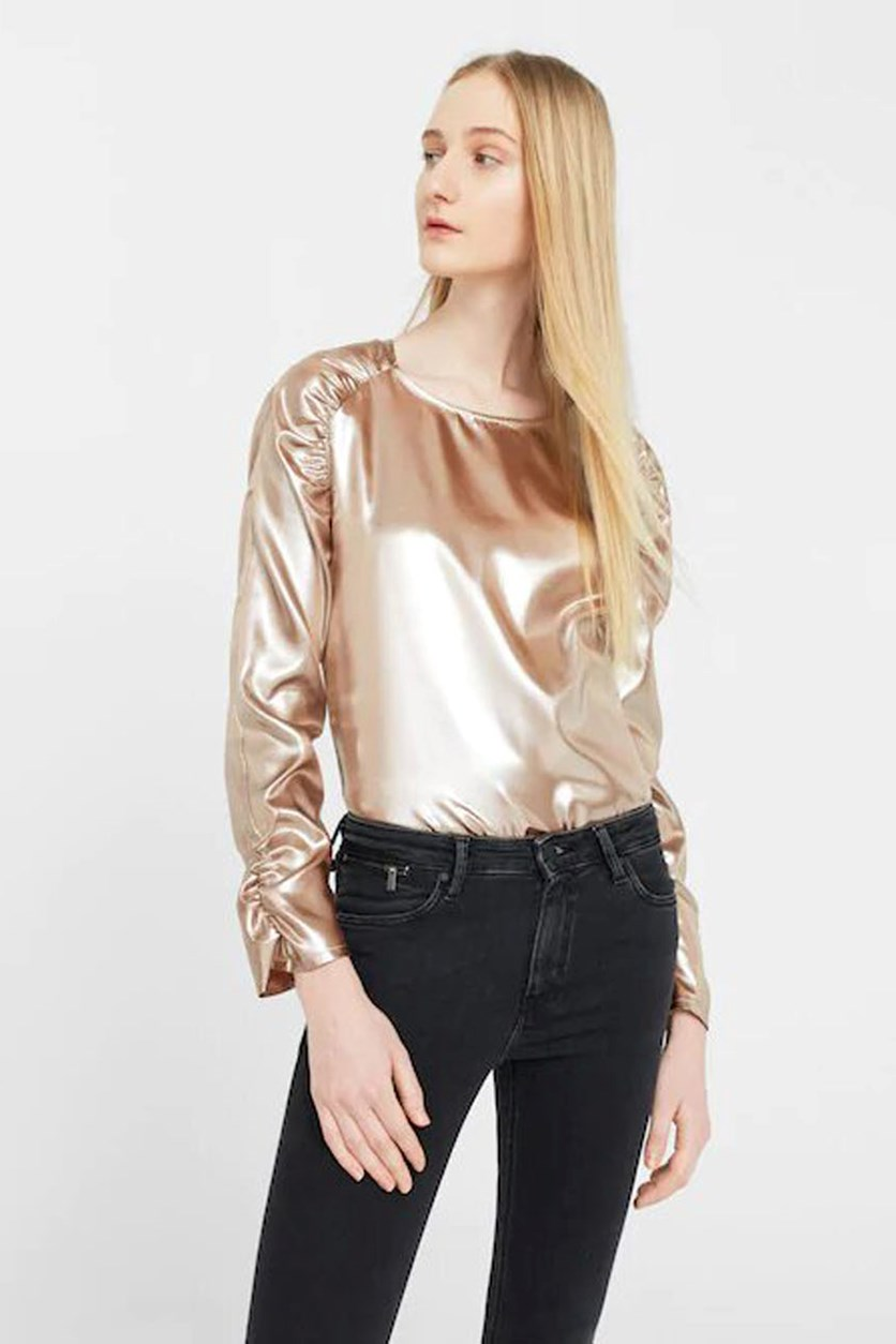 Women's Metallic Blouse, Gold