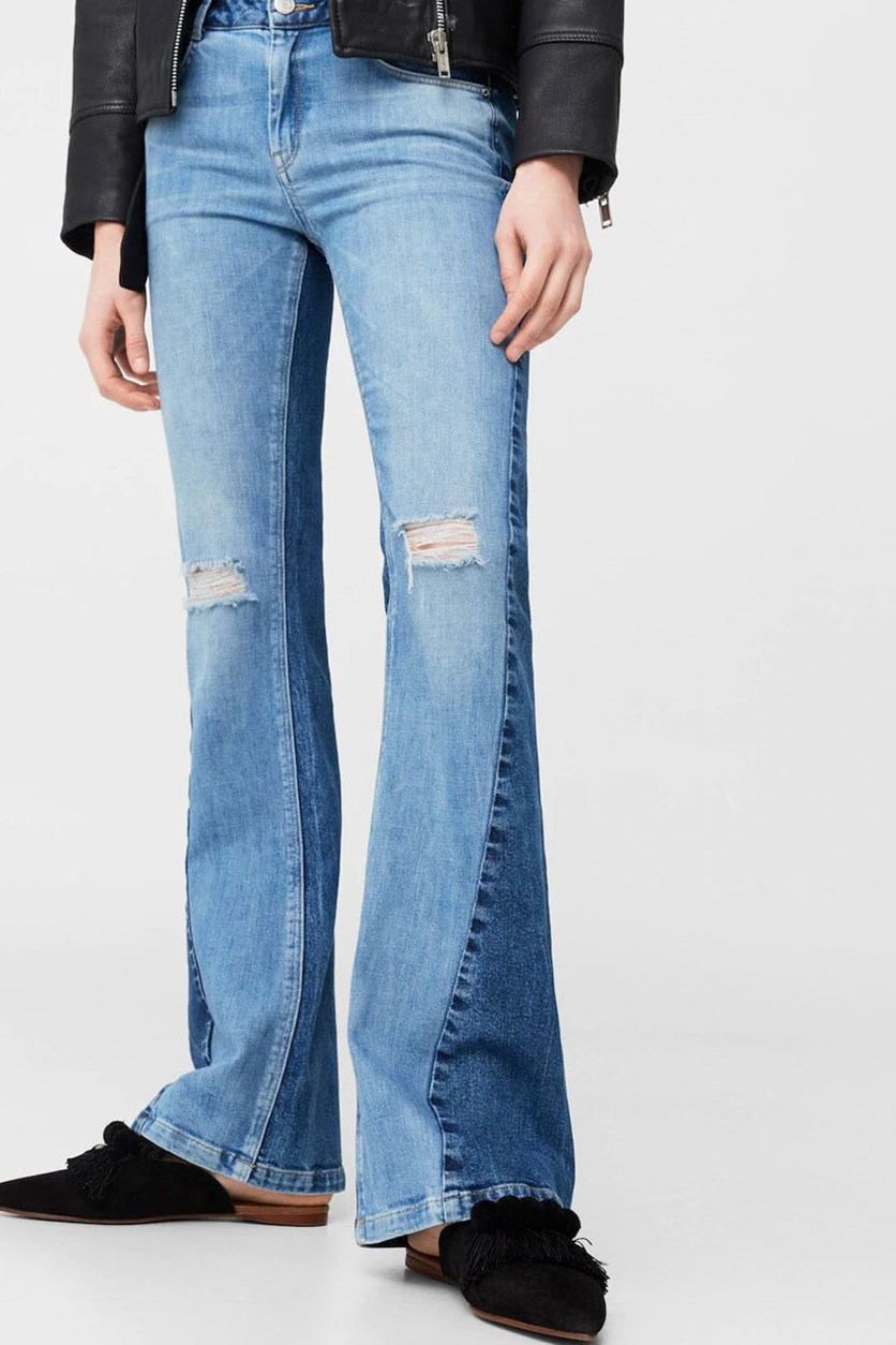 Women's Spanish Long Twotones Jeans, Dull Blue