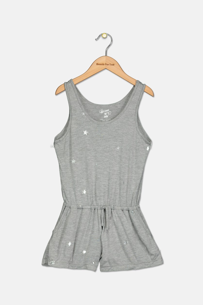 Girls' Foil Star Romper, Grey