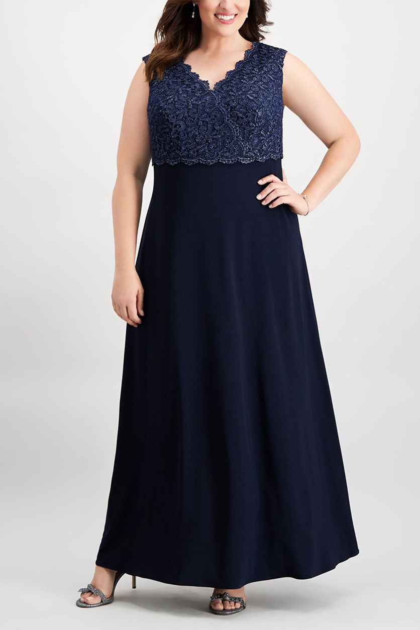 Plus Size Surplice Gown, Navy