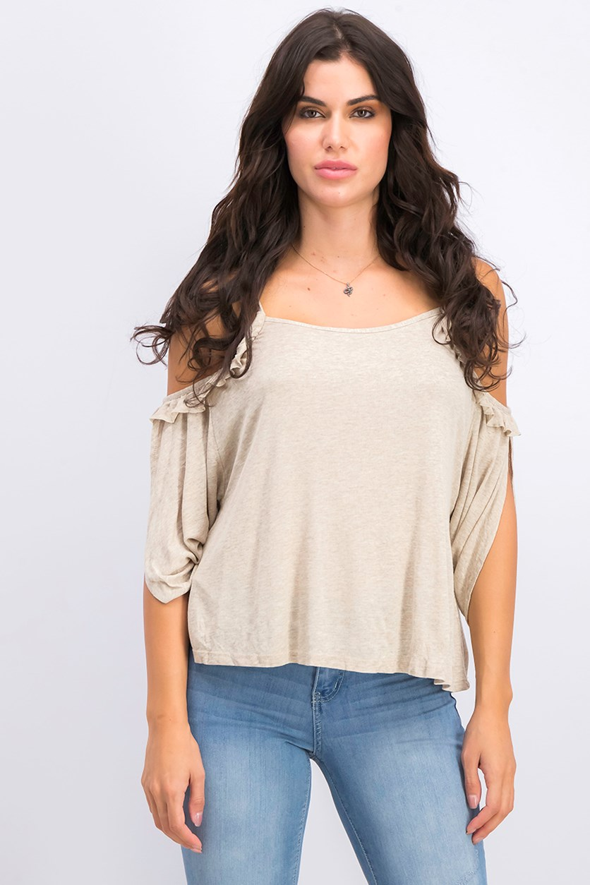 Women's Cold Shoulder Top, Wash Tan
