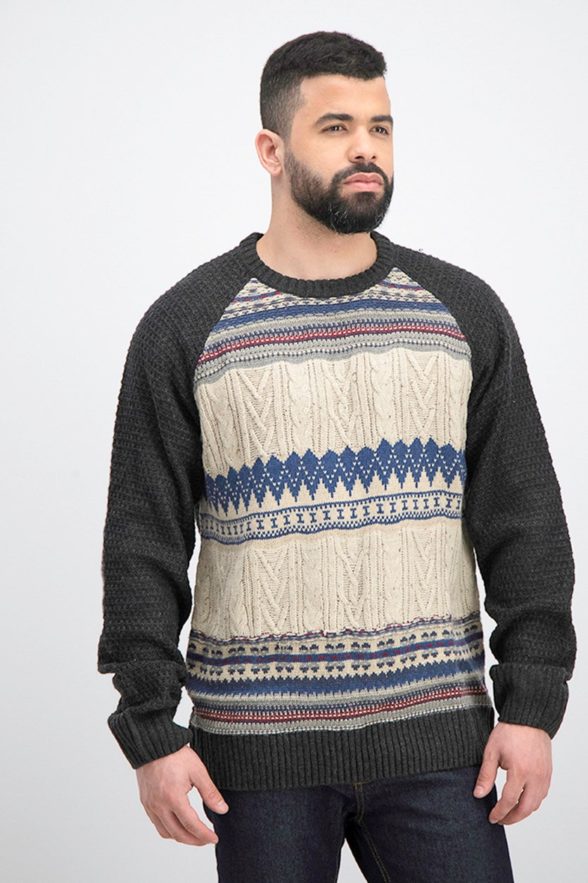 Men's Patch Stripe Sweater, Black/Natural
