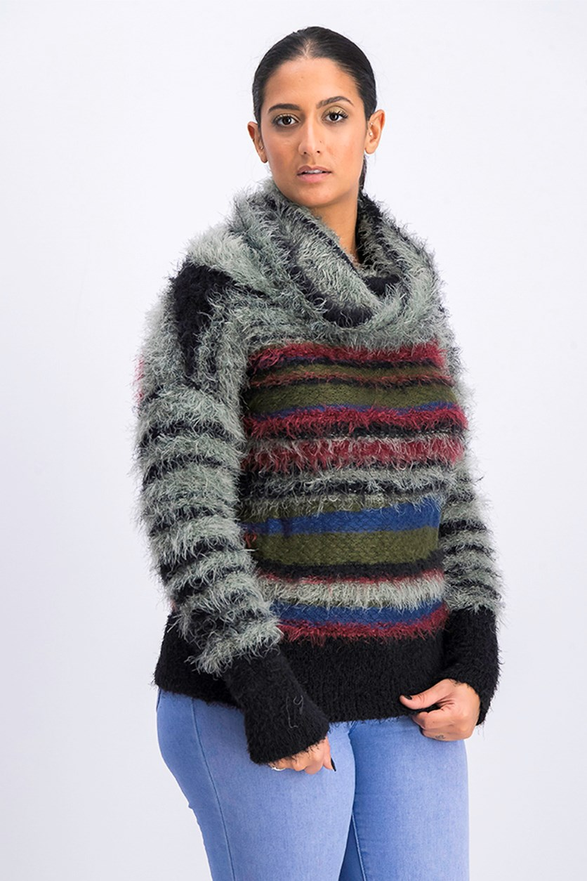 Women's Faux-Fur Fuzzy Sweater, Green Combo