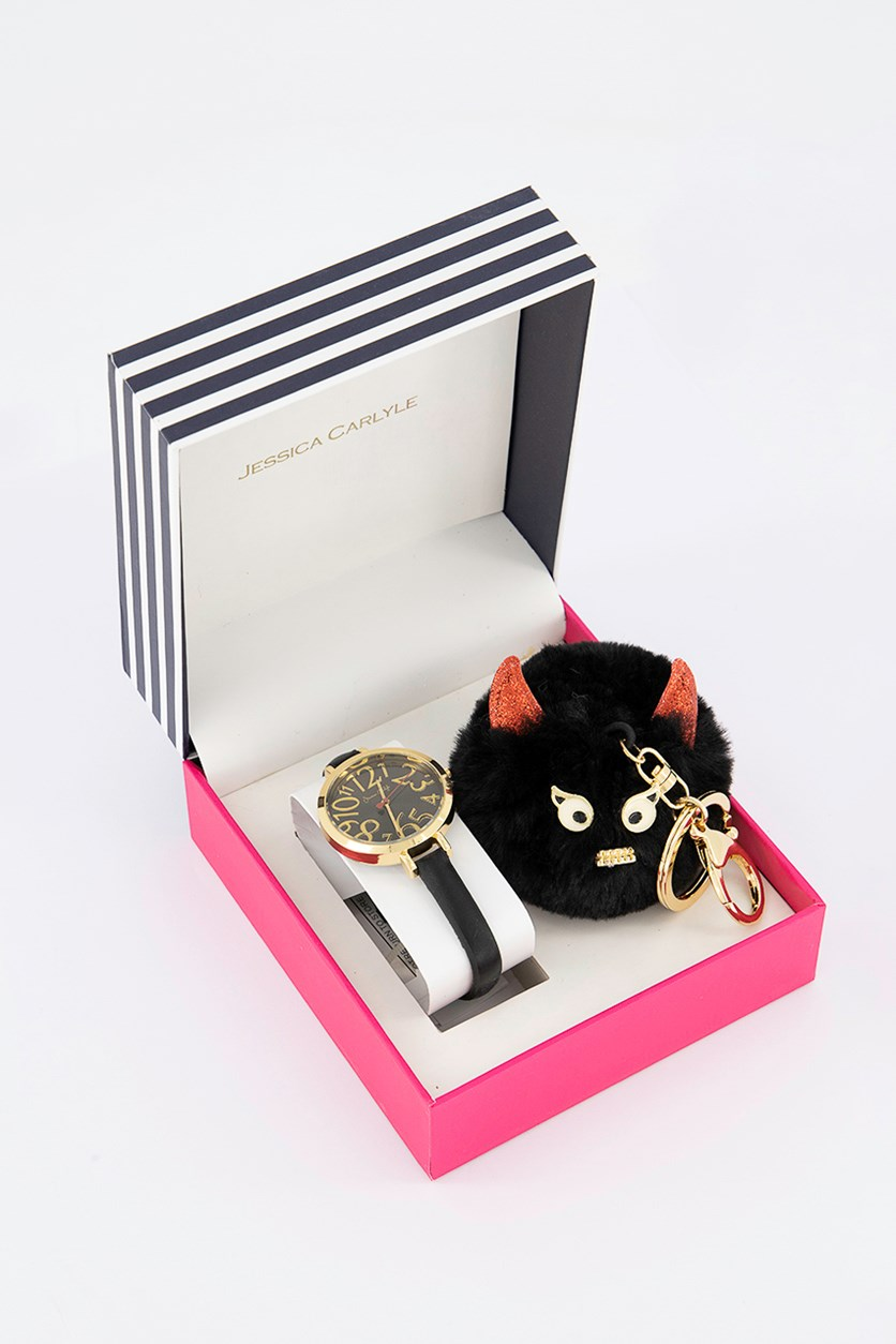 Women's Analog Watch & Keychain Set, Black/Gold