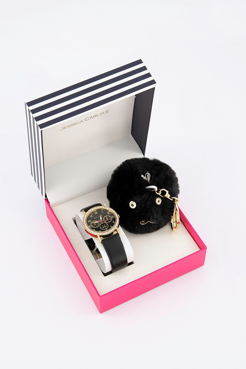 Women's Analog Watch & Keychain Set, Black