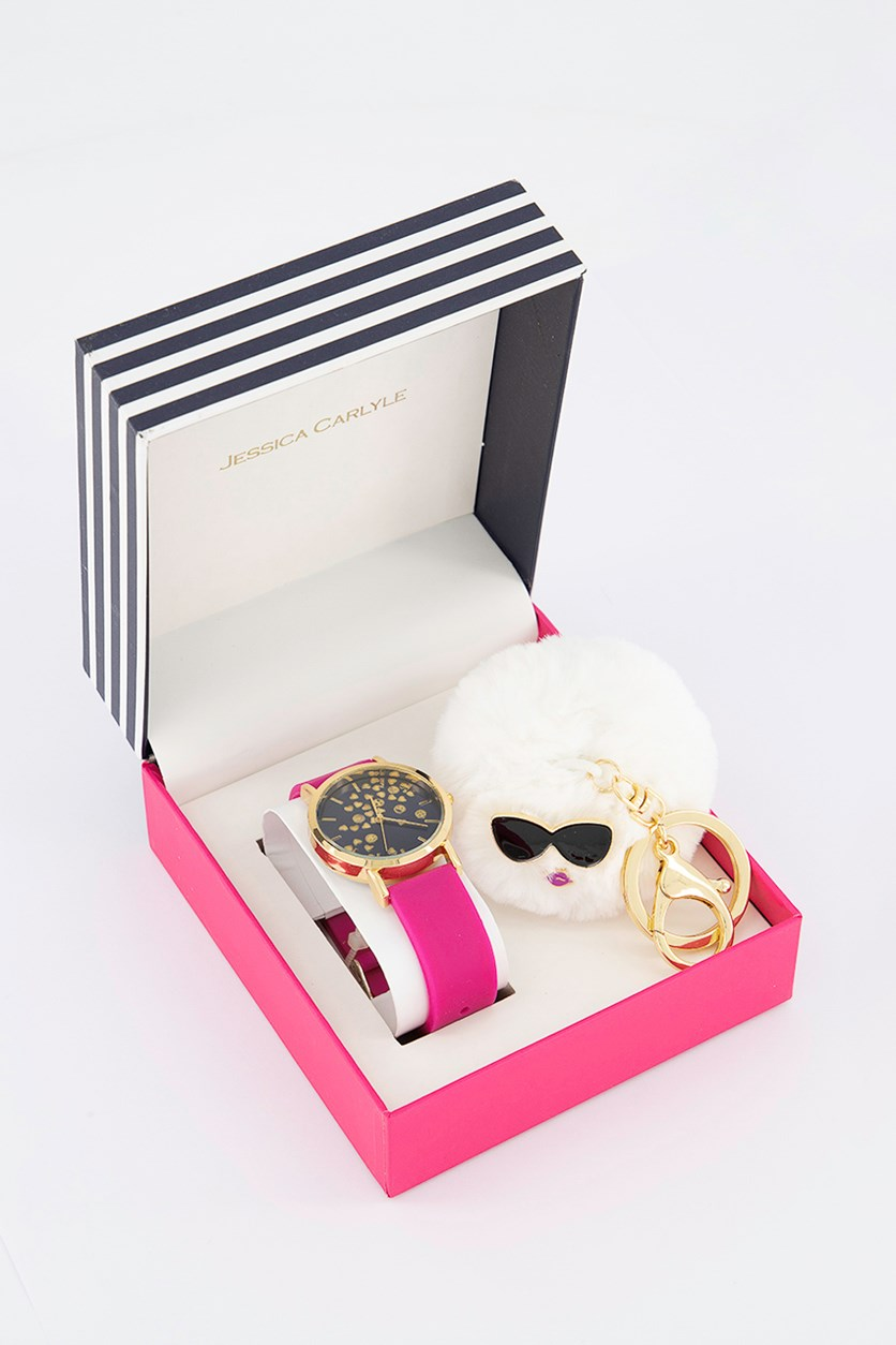 Women's Analog Watch & Keychain Set, Pink/Gold
