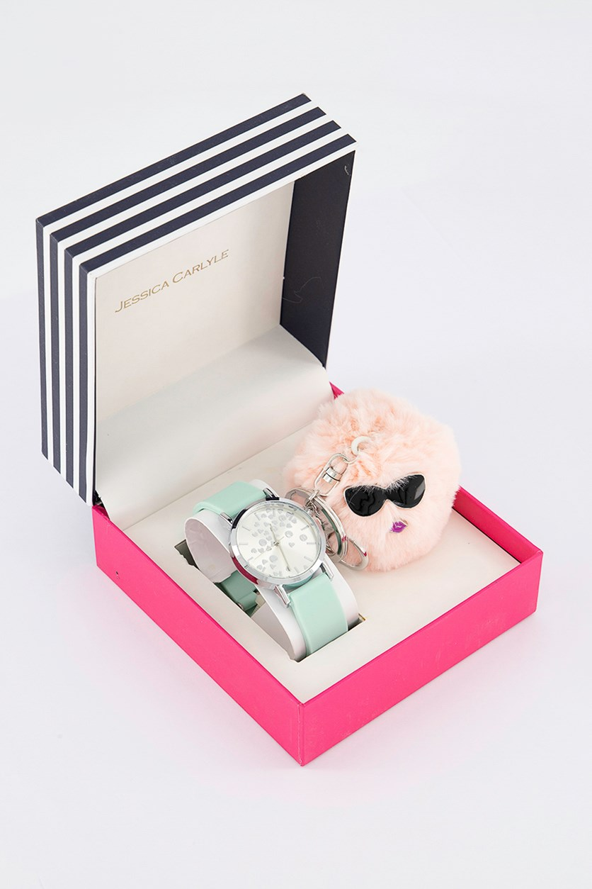 Women's Analog Watch & Keychain Set, Mint/Silver