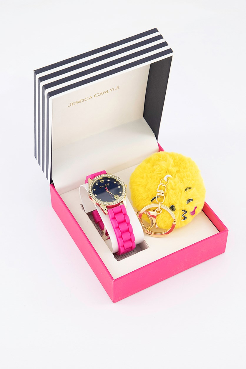 Women's Analog Watch With Keychain Set, Pink/Gold