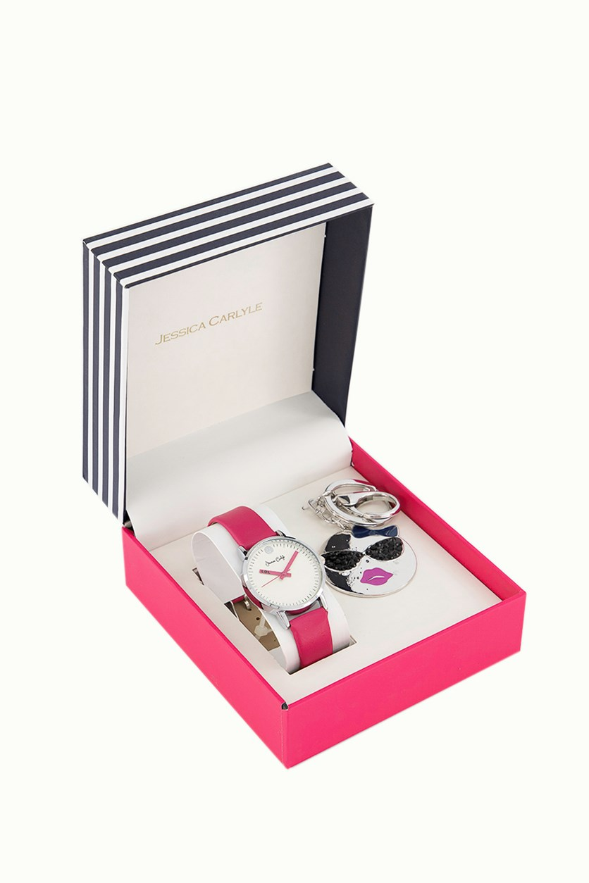 Women's Analog Watch With Keychain Set, Pink/White