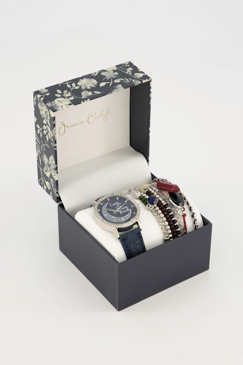 Women's Analog Watch & Bracelet Set, Navy/Silver