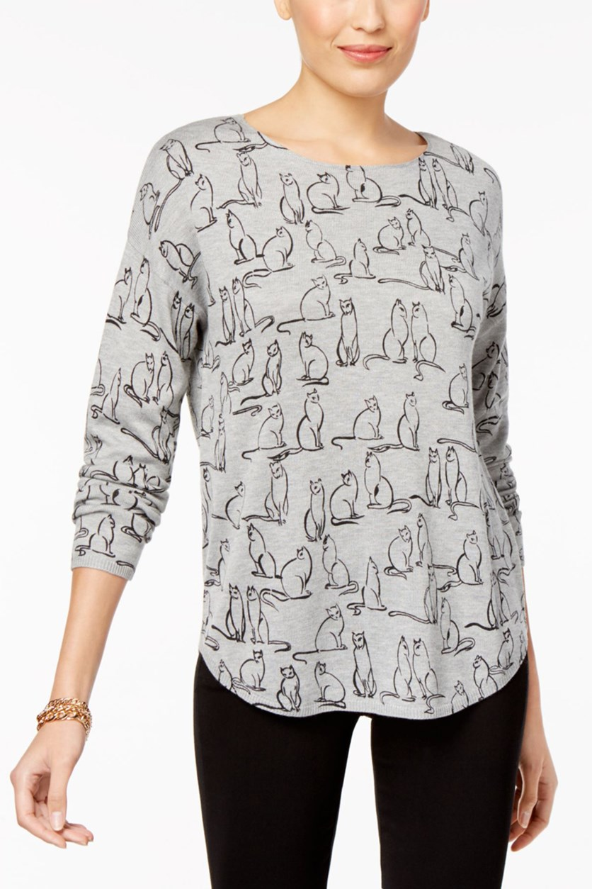 Printed Boat-Neck Sweater, Mist Grey Heather