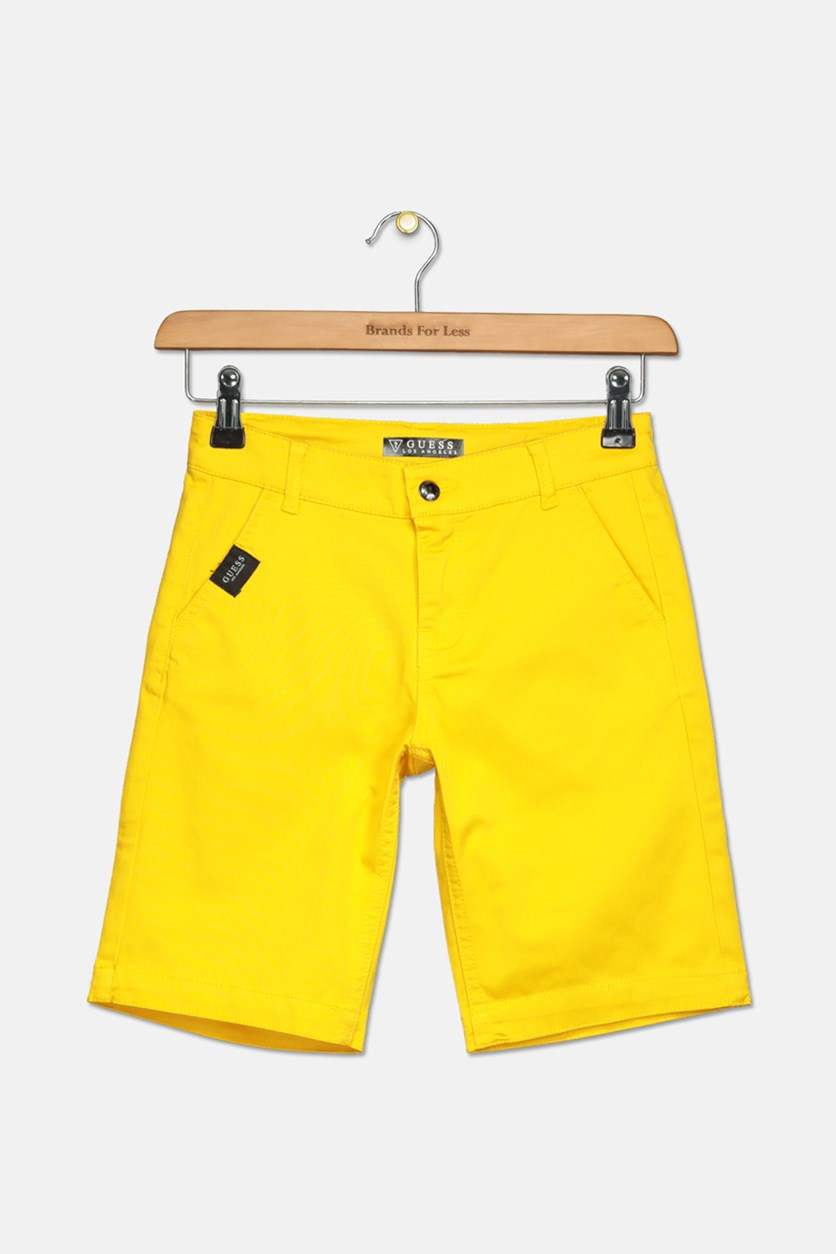 Kids Boys Flat Front Colored Twill Short, Crushed Curry