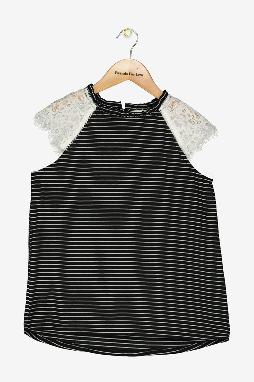 Big Girls Lace-Sleeve Striped Top, Black