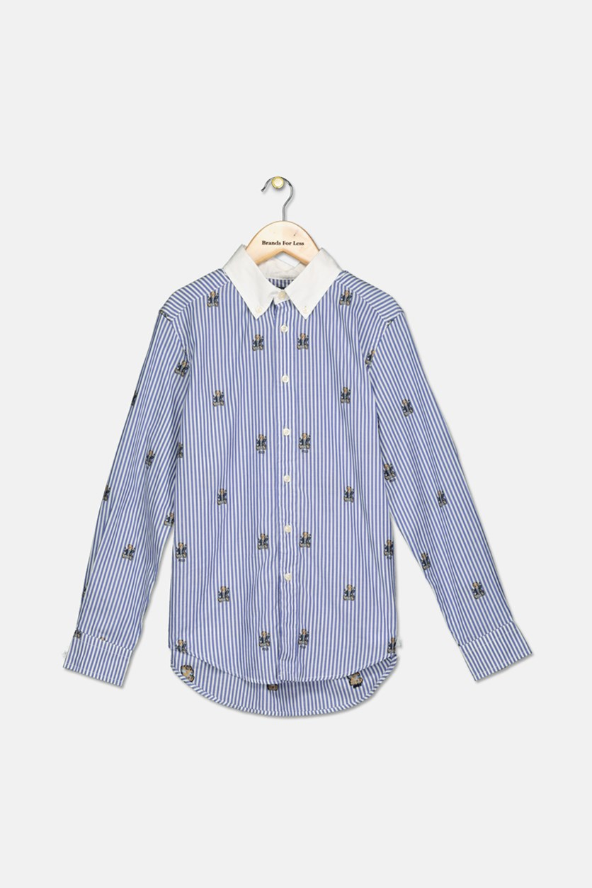 Boy's Striped Stretch Cotton Shirt, Blue/White
