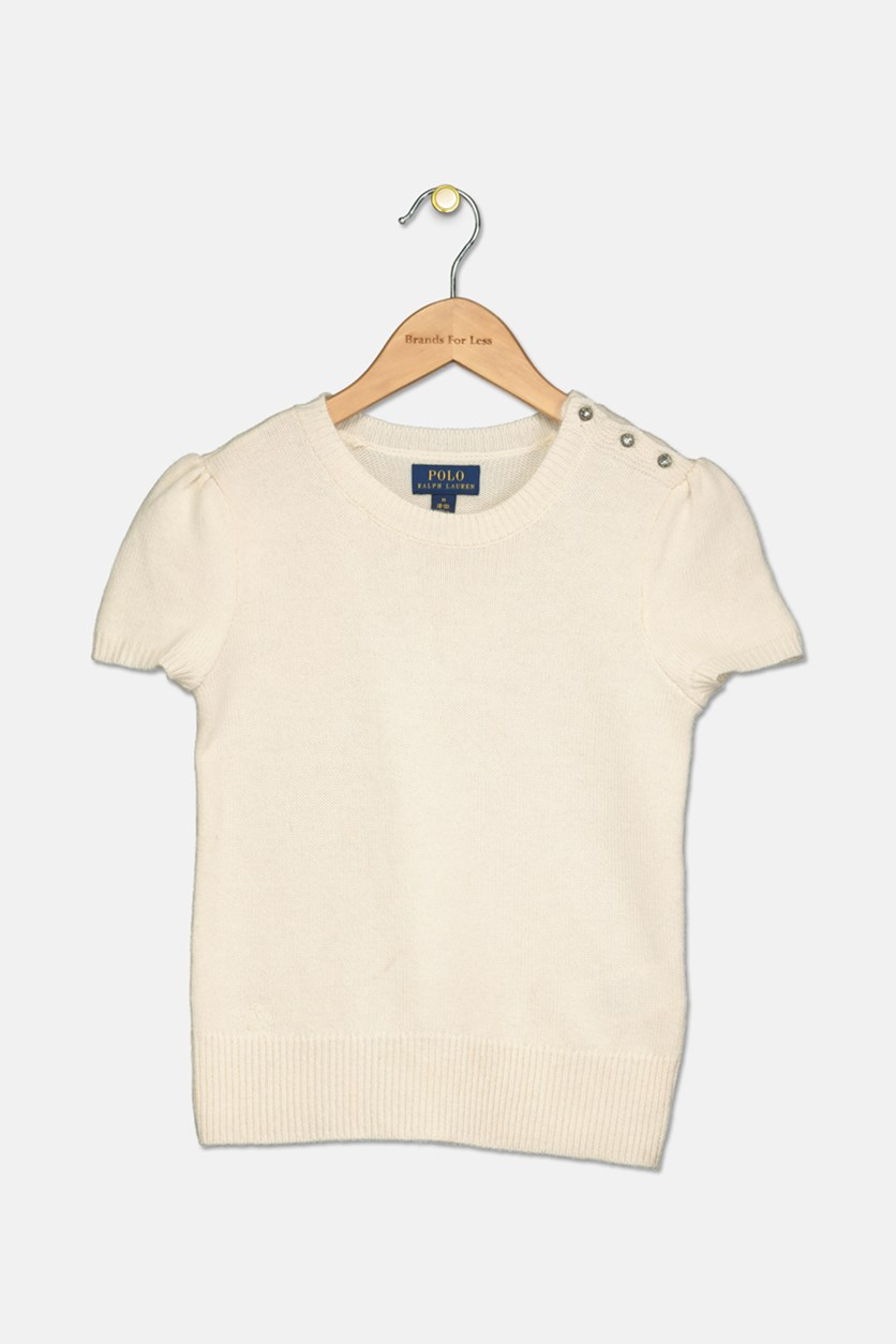 Big Girl's Short-Sleeve Sweater, Chic Cream