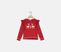 Toddler Girls Ruffled Reindeer Sweater, Red