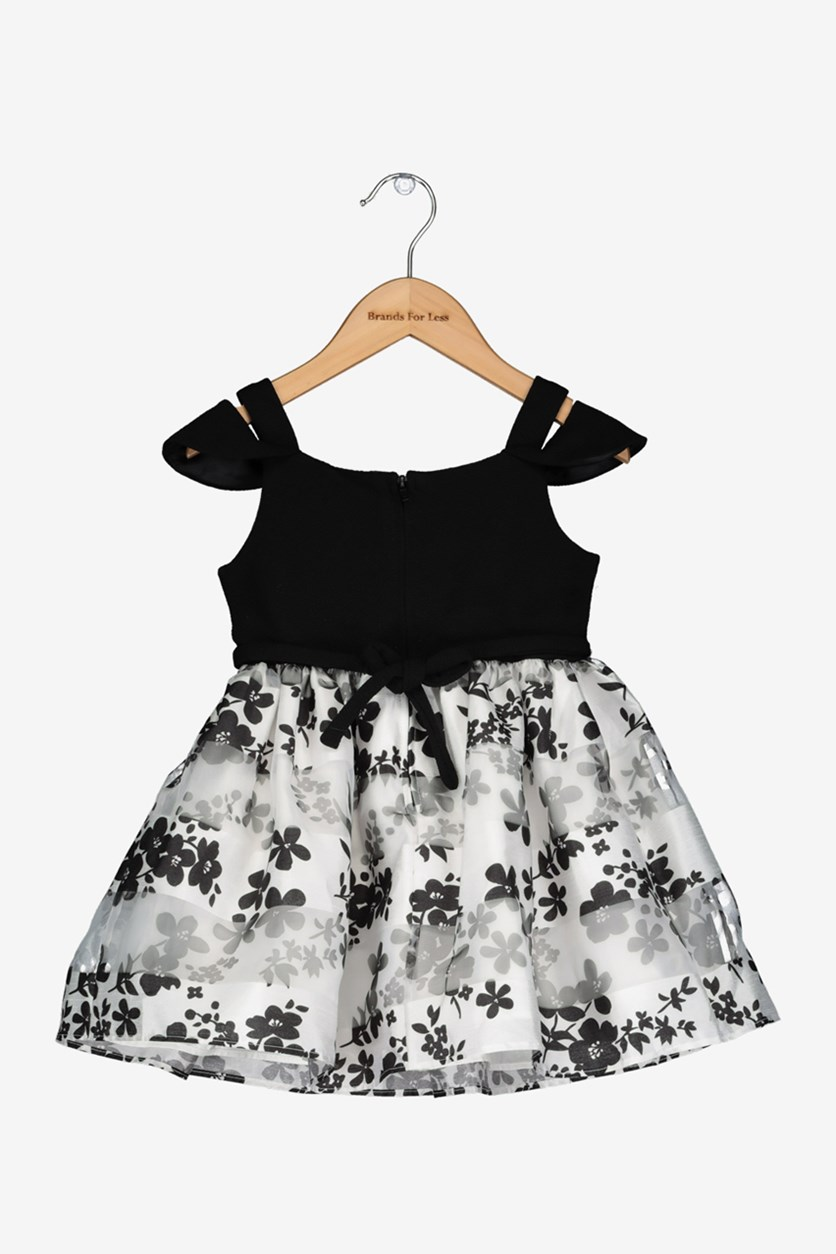 Toddler Girls Cold Shoulder Floral-Print Dress, Black/White