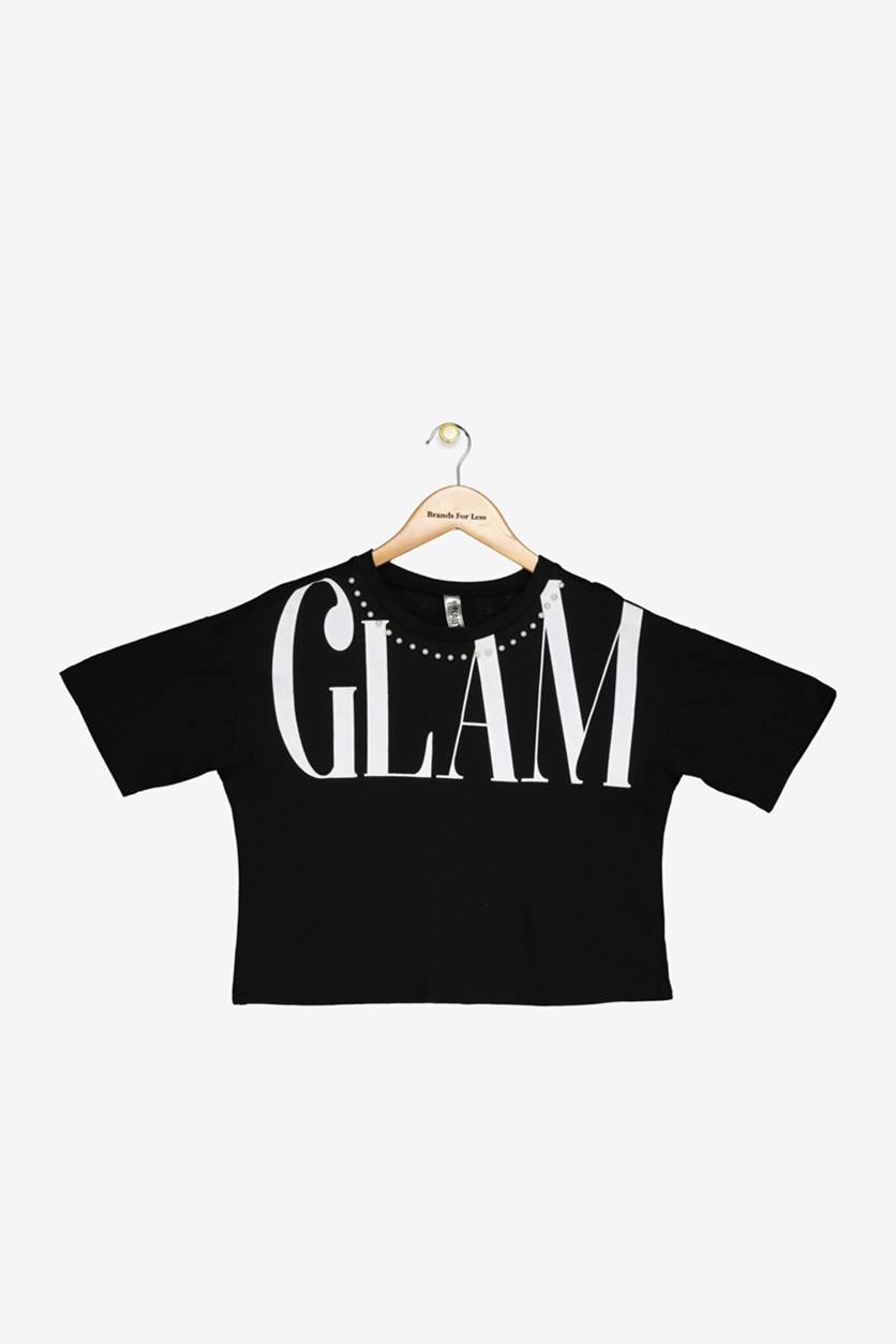 Big Girls Cropped Glam T-Shirt, Black