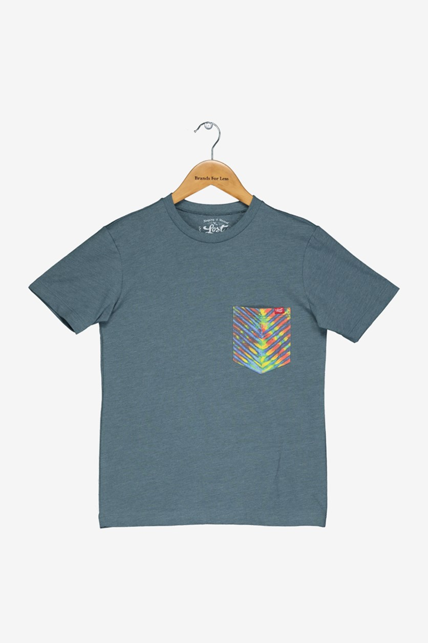 Boy's Chest Pocket Tee, Teal Blue