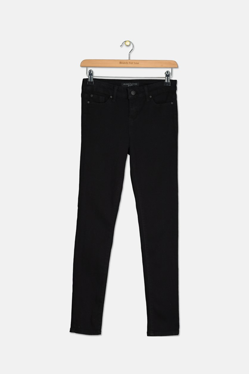 Colored Denim Skinny Jeans, Black