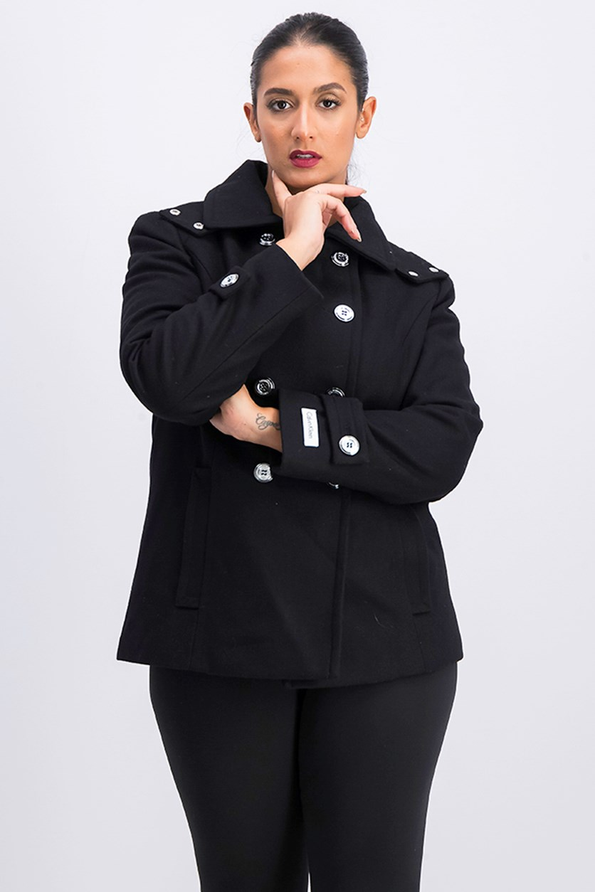 Women's Double Breasted Hooded Trench Coat, Black