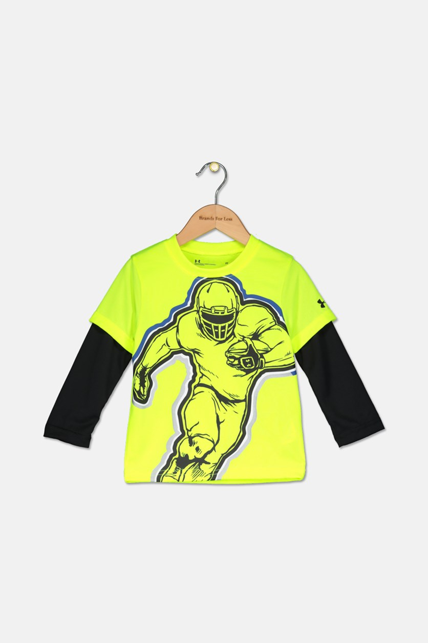 Toddler Boys Football Print Layered Look T-Shirt, Lime Green/Black