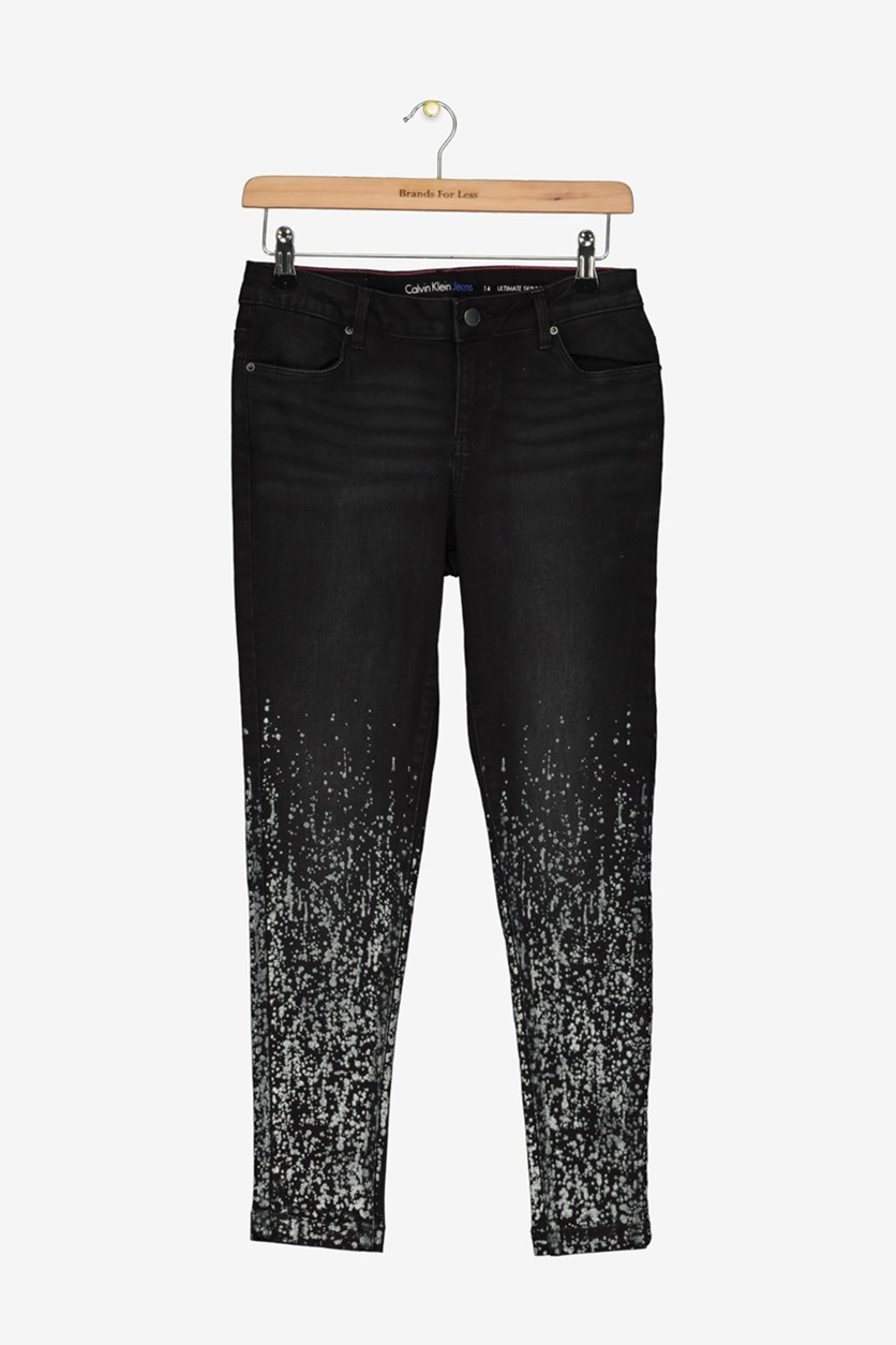 Big Girls Metallic Splatter-Print Jeans, Black