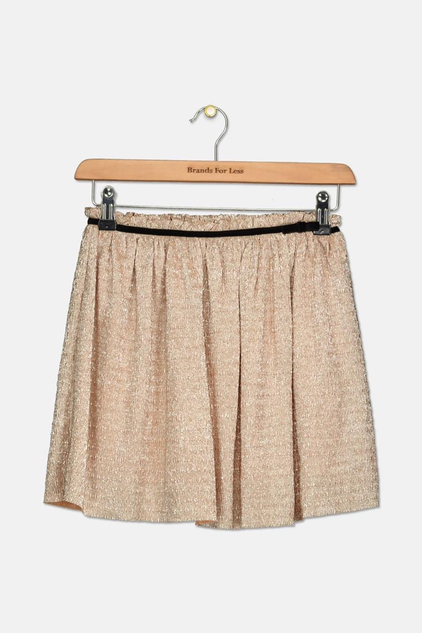 New York Girls' Metallic Crepe Skirt, Gold
