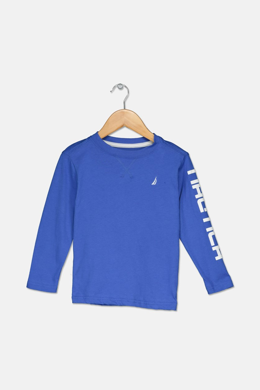 Toddlers Boys Long Sleeve Tee, Blue