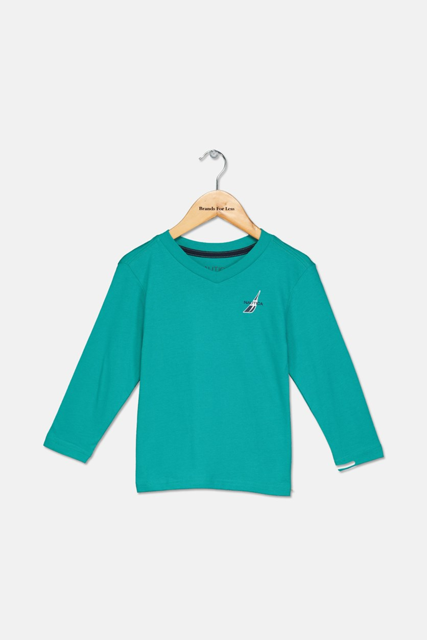 Toddler Boys' Basic V-Neck Long Sleeve Tee, Teal