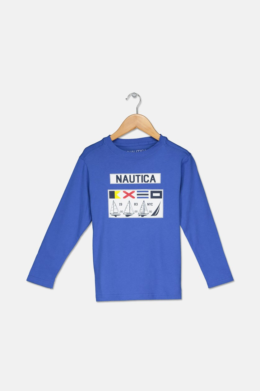 Little Boys Graphic Print Long Sleeve Shirt, Blue