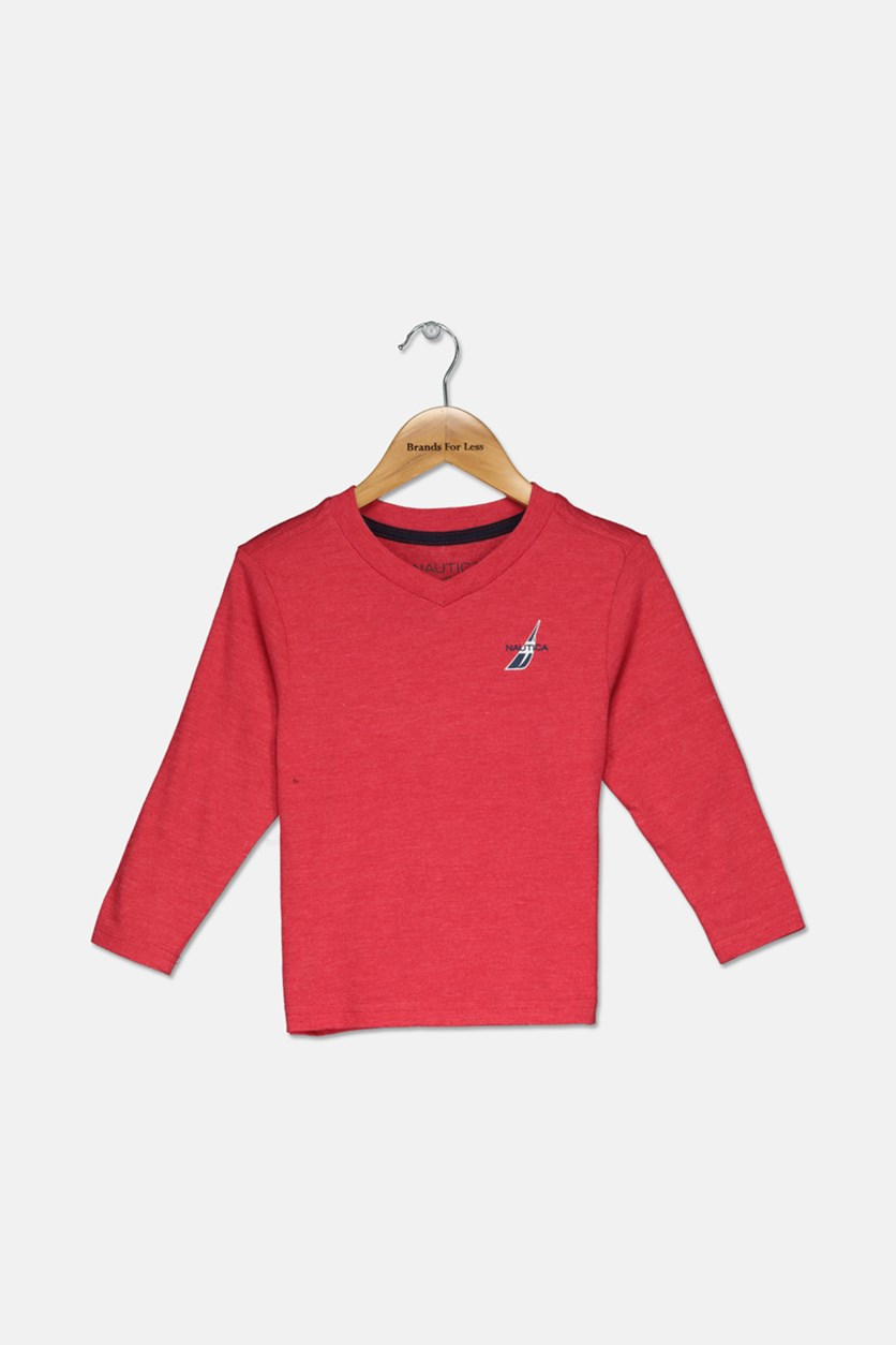 Toddlers Boys Logo Print Long Sleeve Tee, Carmine