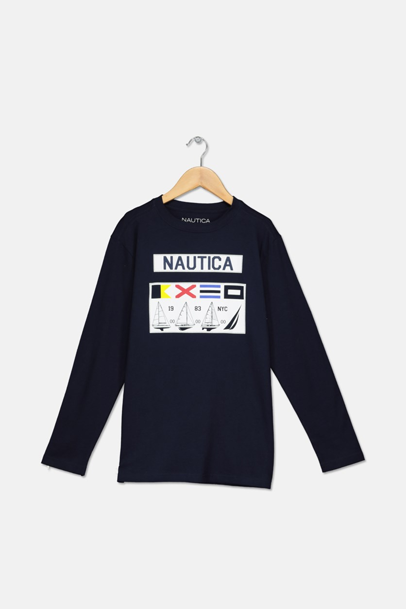 Big Boys' '' Gio Long-Sleeve Tee, Sport Navy