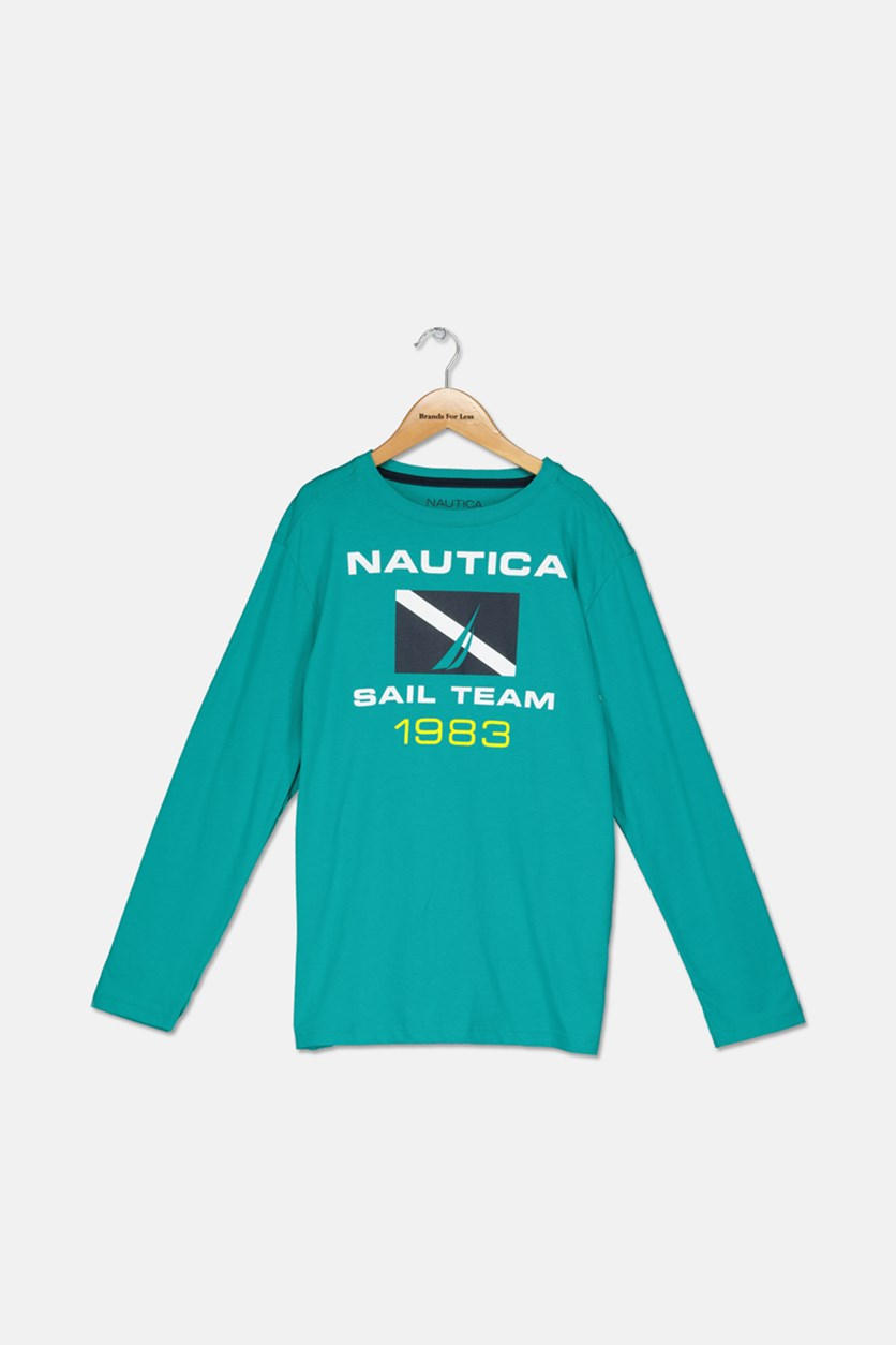 Big Boys' ' Sail Team' Long-Sleeve Tee, Teal