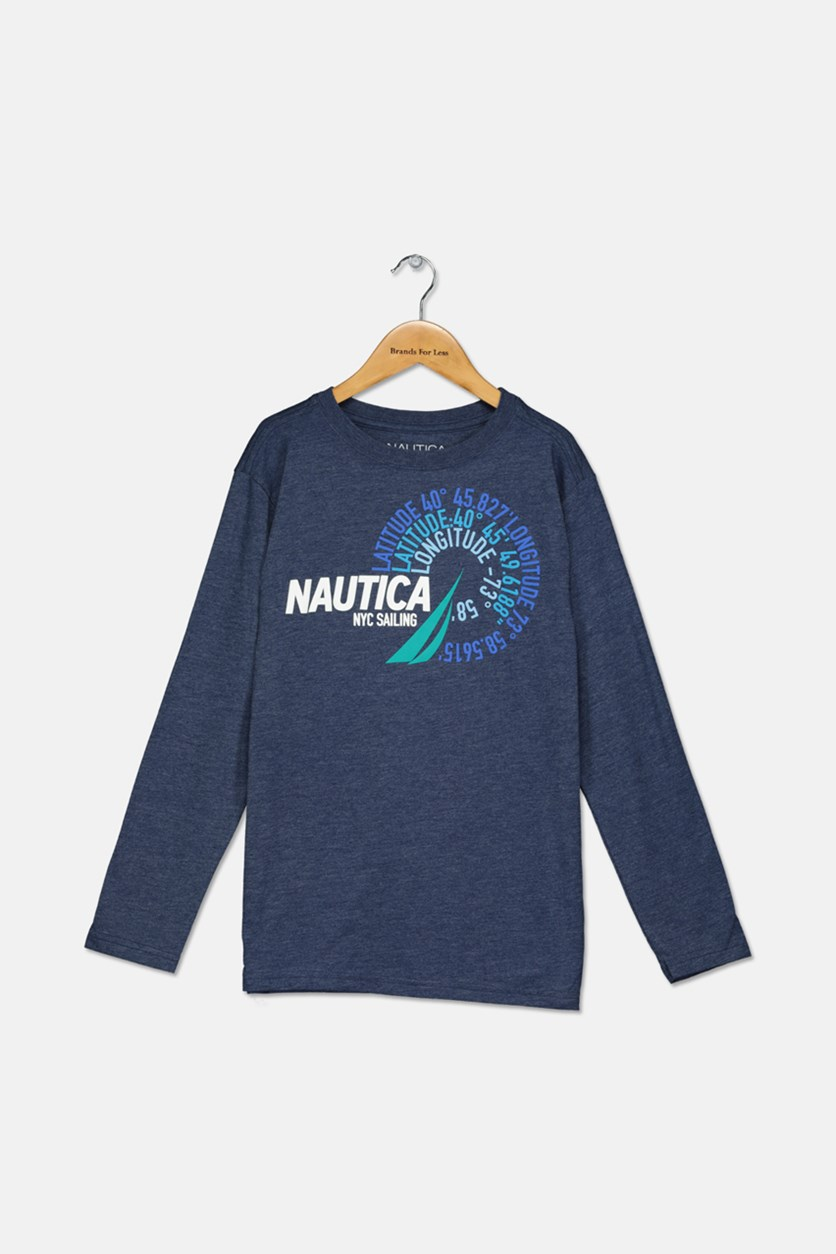 Big Boys' Latitude Long-Sleeve Tee, Navy