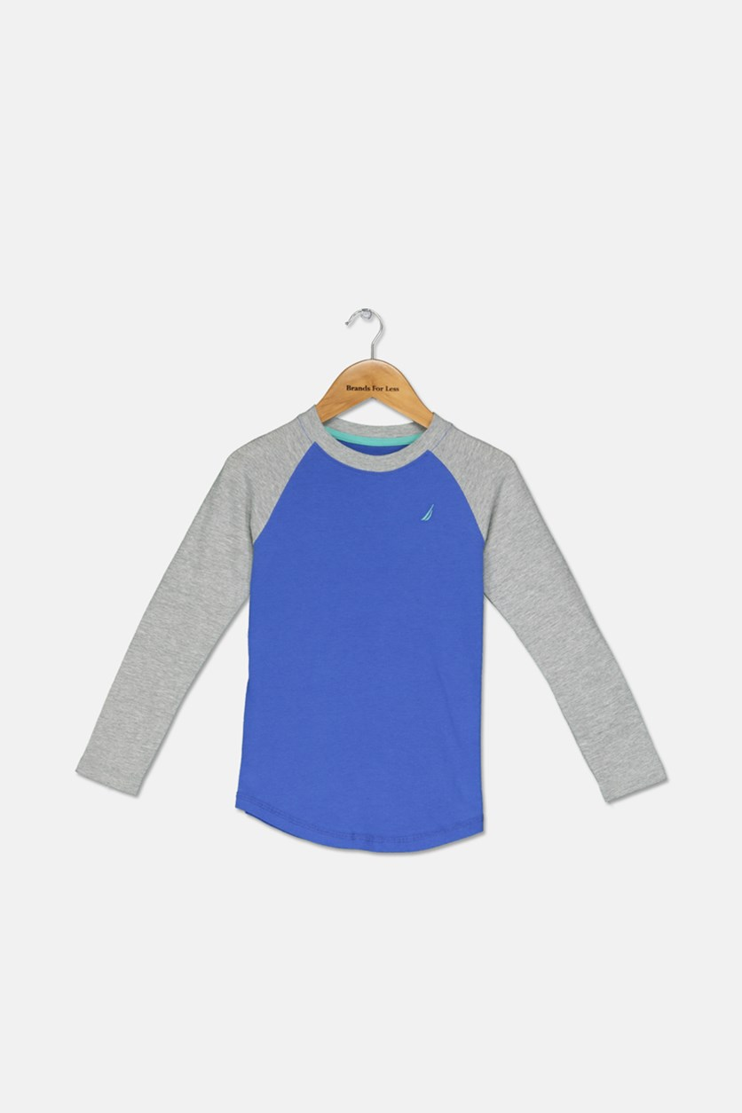 Toddler Boys Long Sleeve Raglan Tee, Blue/Grey