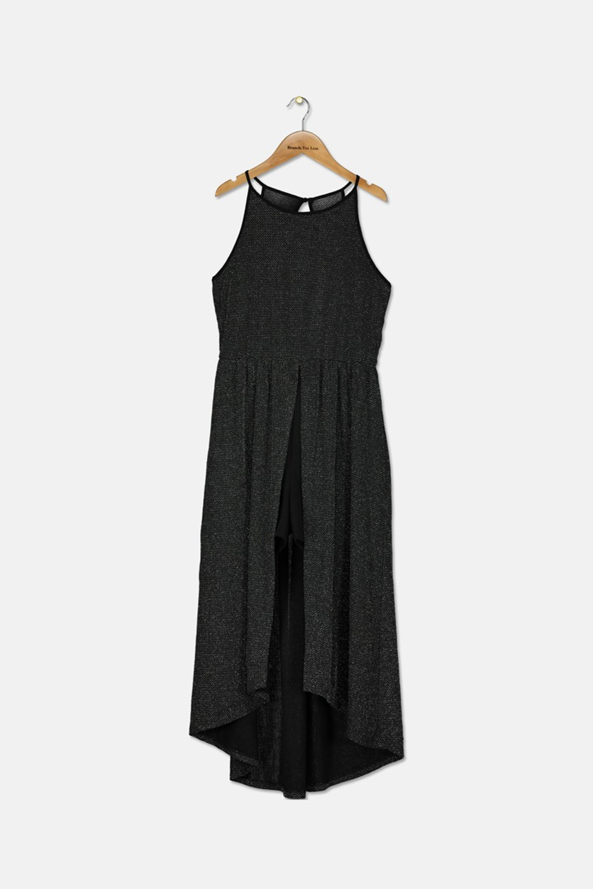 Girls Glitter-Knit Maxi-Overlay Romper, Metallic Black