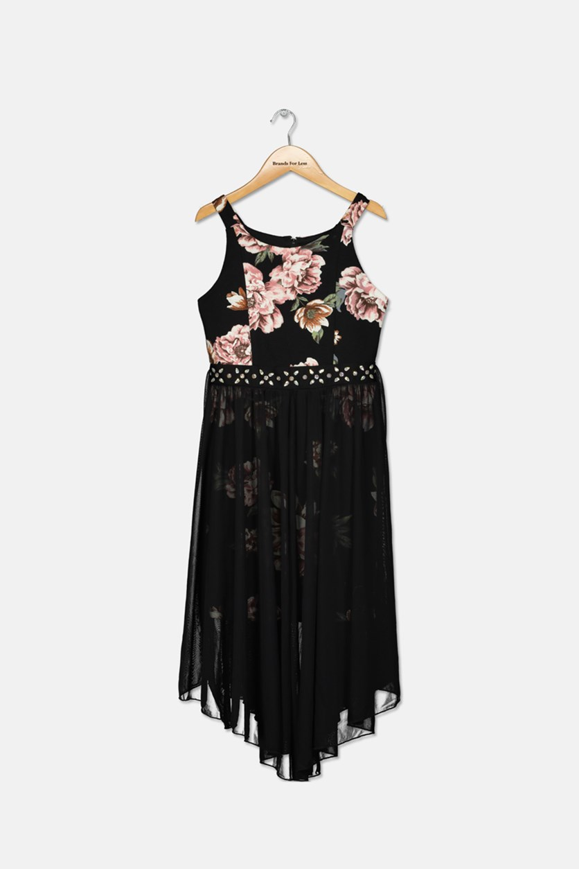 Big Girls Floral Overlay Dress, Black