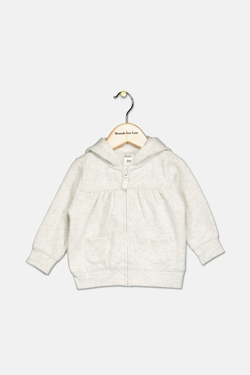 Baby Girl's Heathered Hooded Jacket, Heather Gray