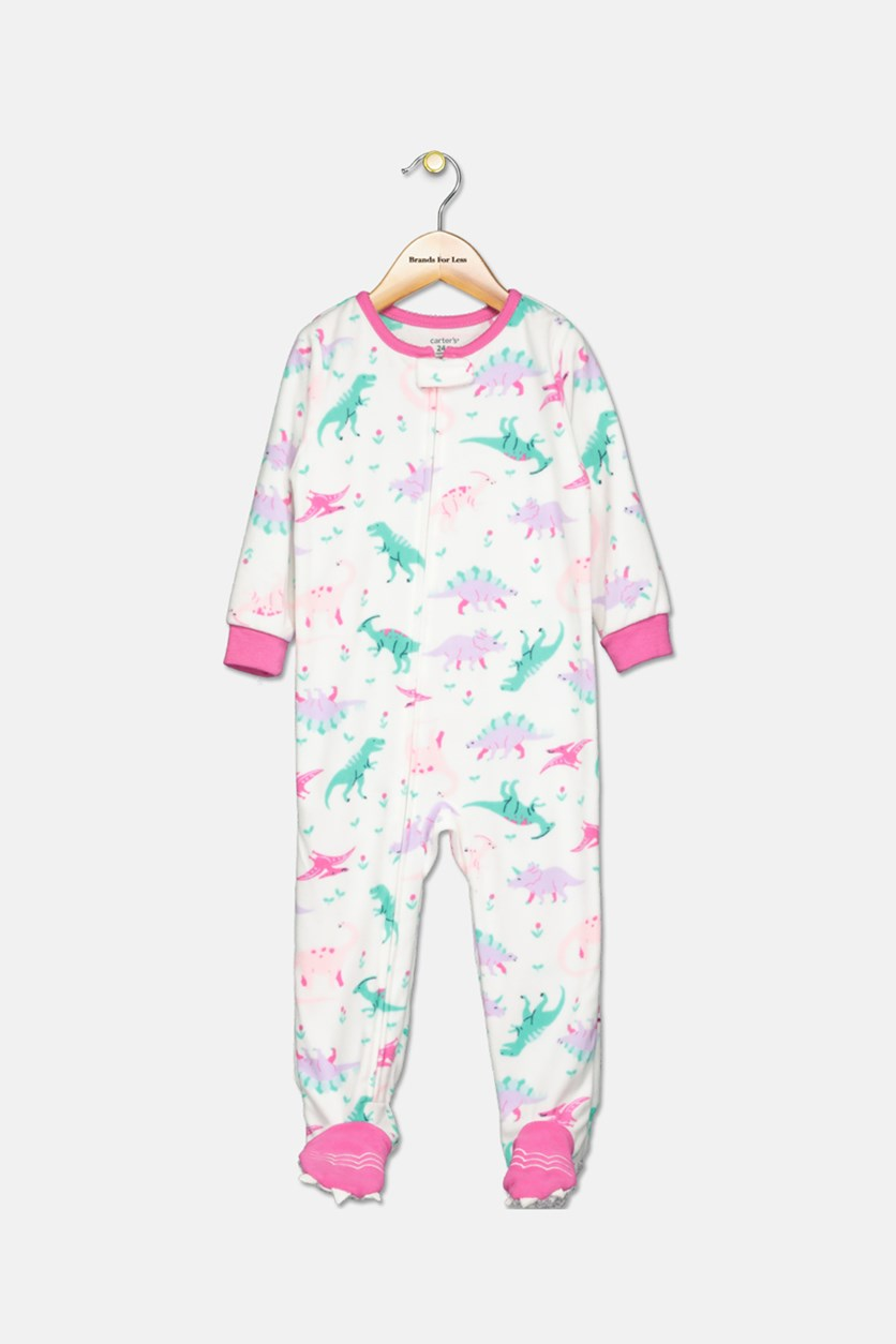 Carter's Infant Girls' 1-Piece Fleece Dino Toes Pajamas, White Combo