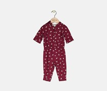 Baby Girls Cat-Print 1-Pc. Jumpsuit, Burgundy