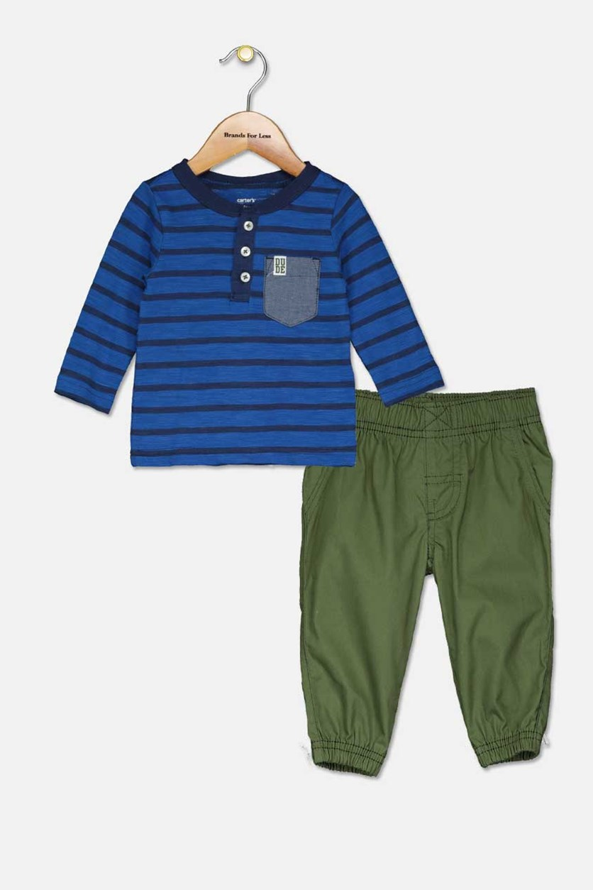 Todders Boy's 2-pc. Long Sleeve T-Shirt Pant Set, Oive/Blue