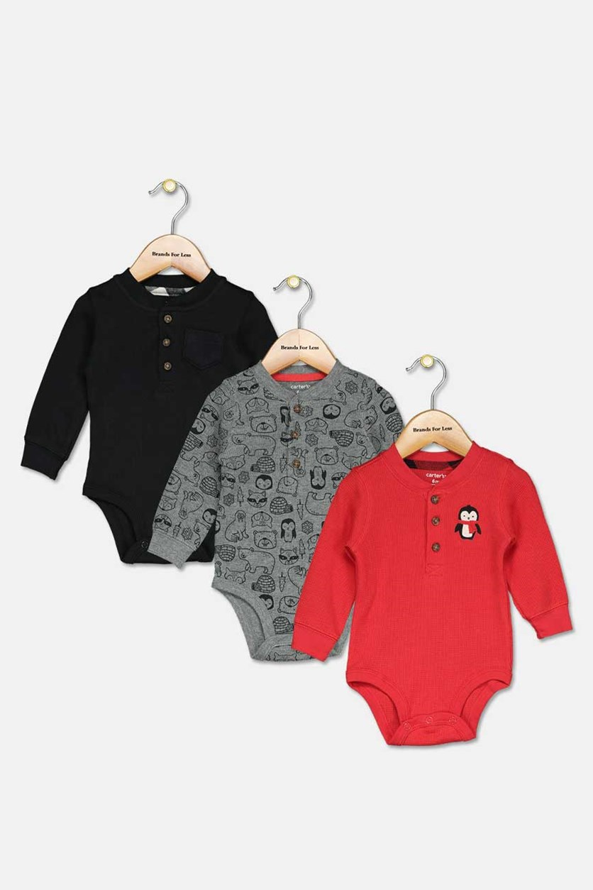 Toddler's Boy's 3-Pieces. Penguin Bodysuits, Black/Red/Grey