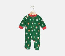 Carter's Baby Boys Christmas-Print Fleece Footed Coverall, Green/Red/White