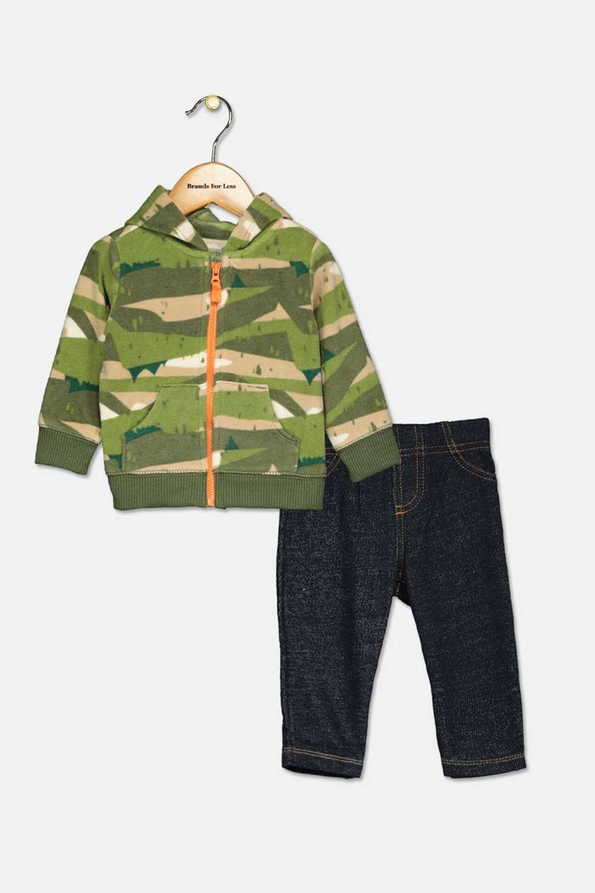 Baby Boys 3-Pc. Printed Hoodie, Bodysuit & Jeans Set, Gray/Navy/Brown