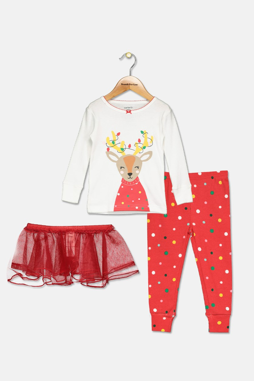 Baby Girls 3-Pc. Reindeer Tutu Pajama Set, Ivory/Red