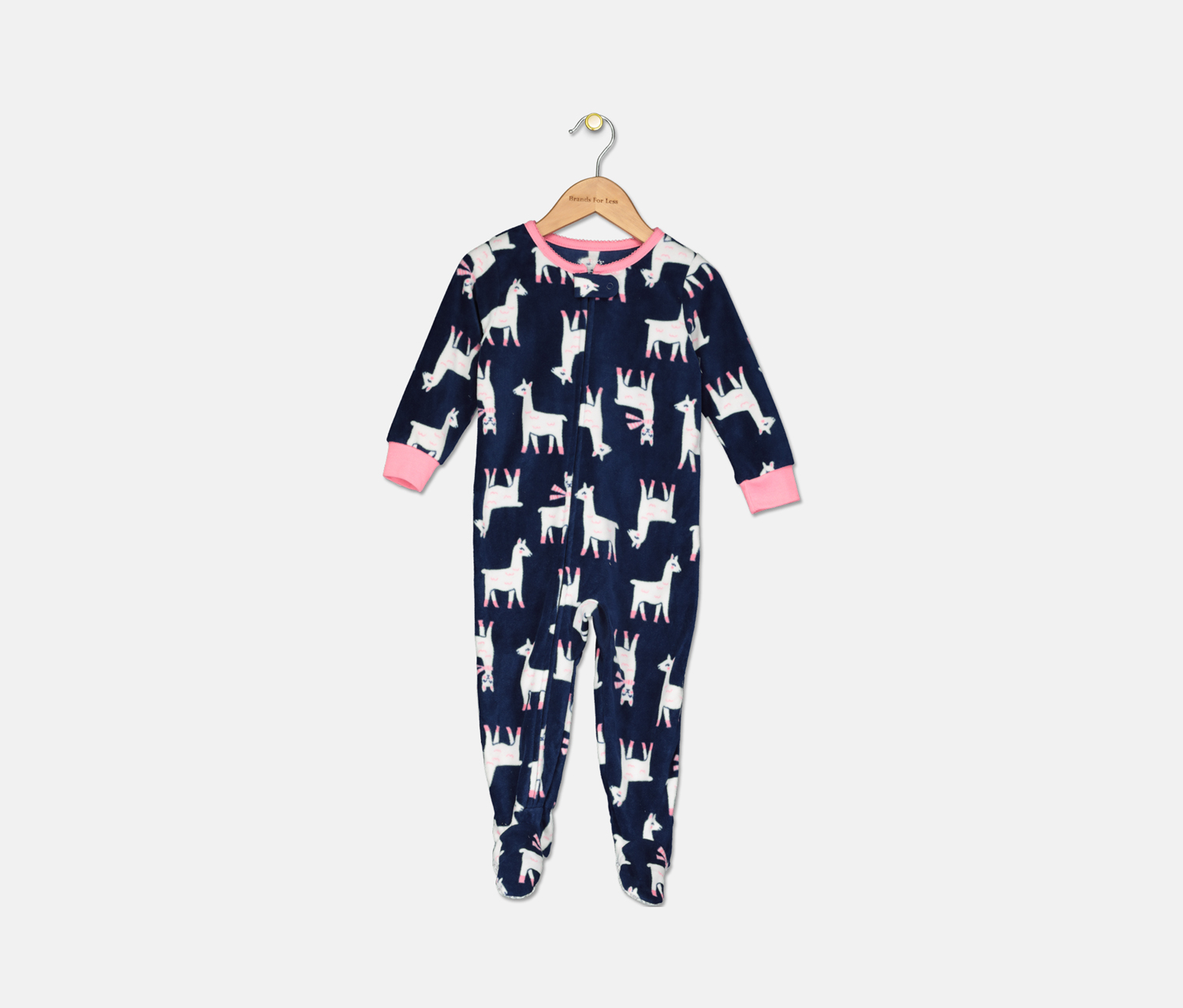 Toddler Girl's Fleece Llama Pajamas, Navy Combo