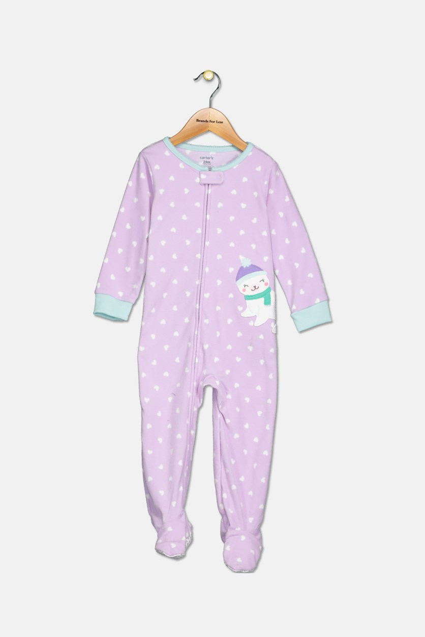 Baby Girls Heart-Print Seal Footed Pajamas, Purple