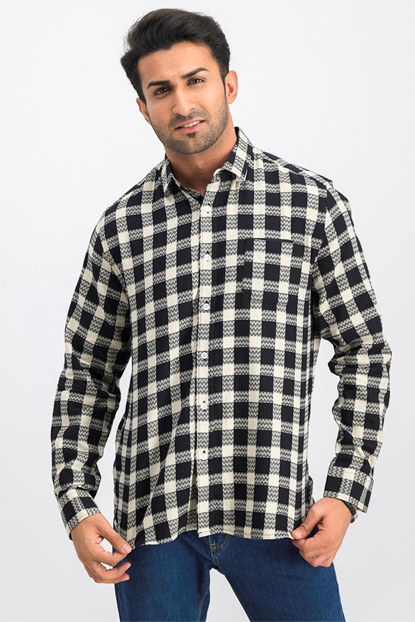 Men's Button Down Shirt, Black/Beige